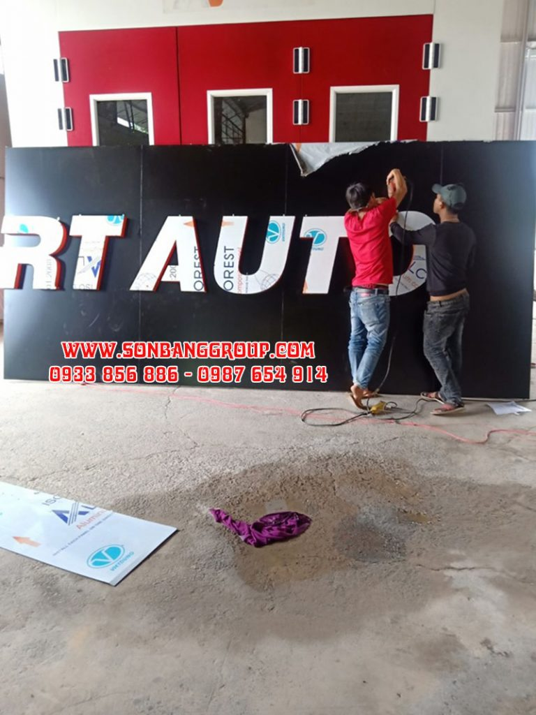 thi công bảng hiệu gara ô tô tại tphcm